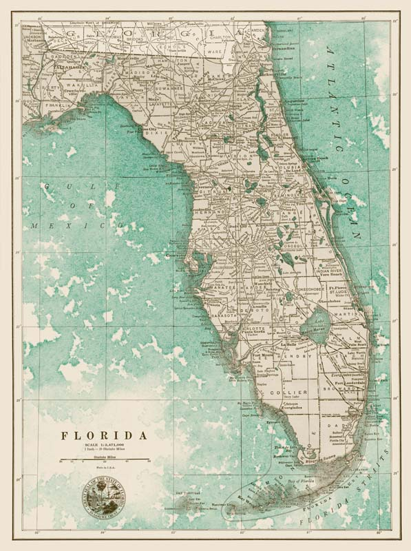 """Florida Map-Green""-$1,120.00"