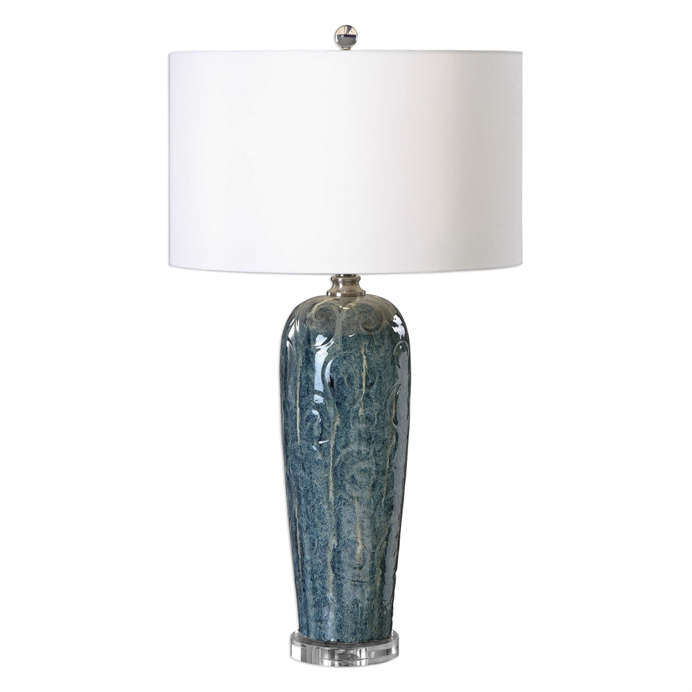 Heathered Blue Ceramic Lamp