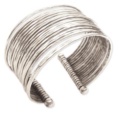 Thin Hammered Bunch Cuff Bracelet