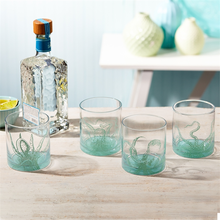 Octopus Set of 4 Double Old Fashioned Glasses