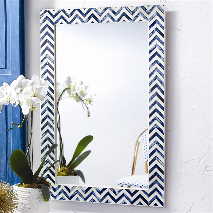 Indigo Chevron Mirror