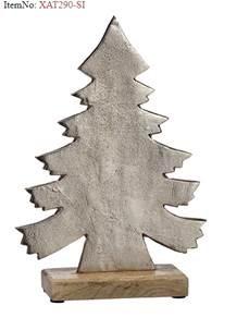Aluminum Christmas Tree with wood base