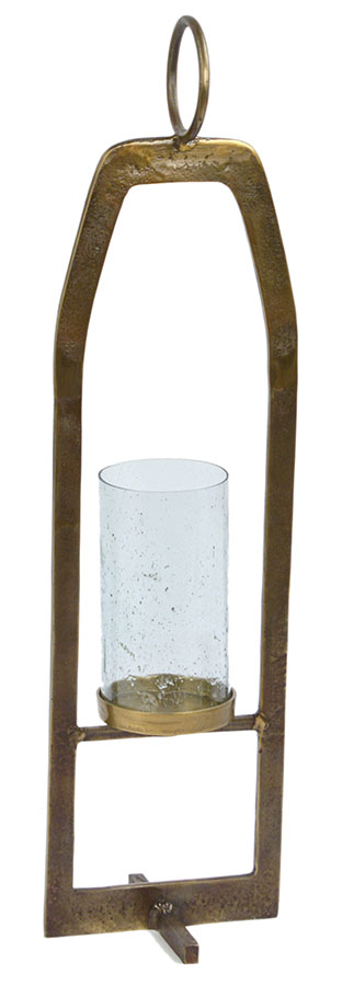 Iron Candle Stand w/Glass Hurricane