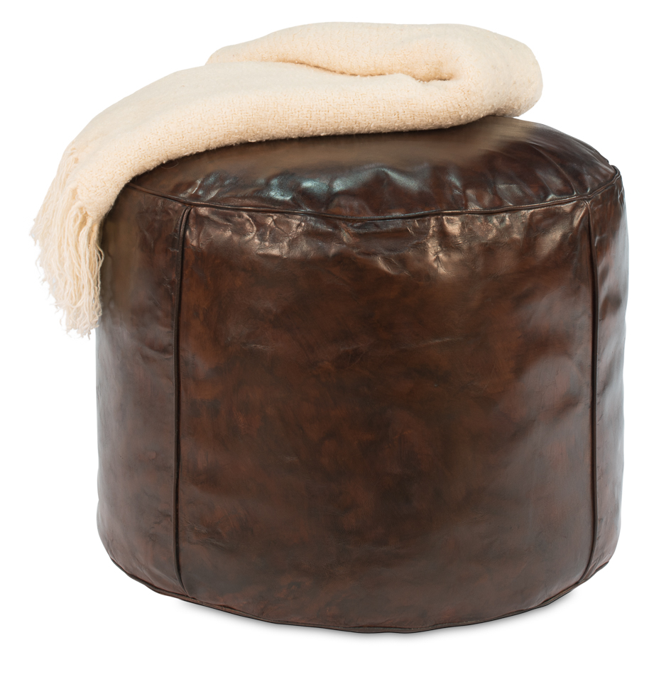 Distressed Leather Stool-$465.00
