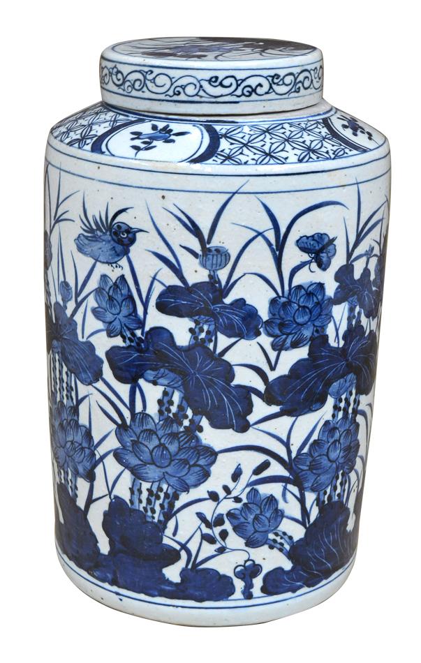 Blue & White Ceramic Urn-$265.00
