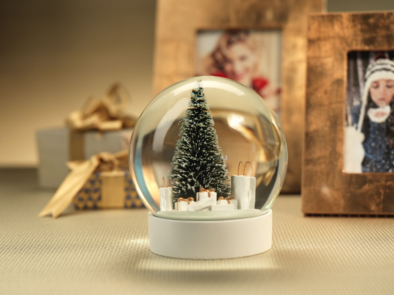 Snow globe with pine needle tree and gift bags