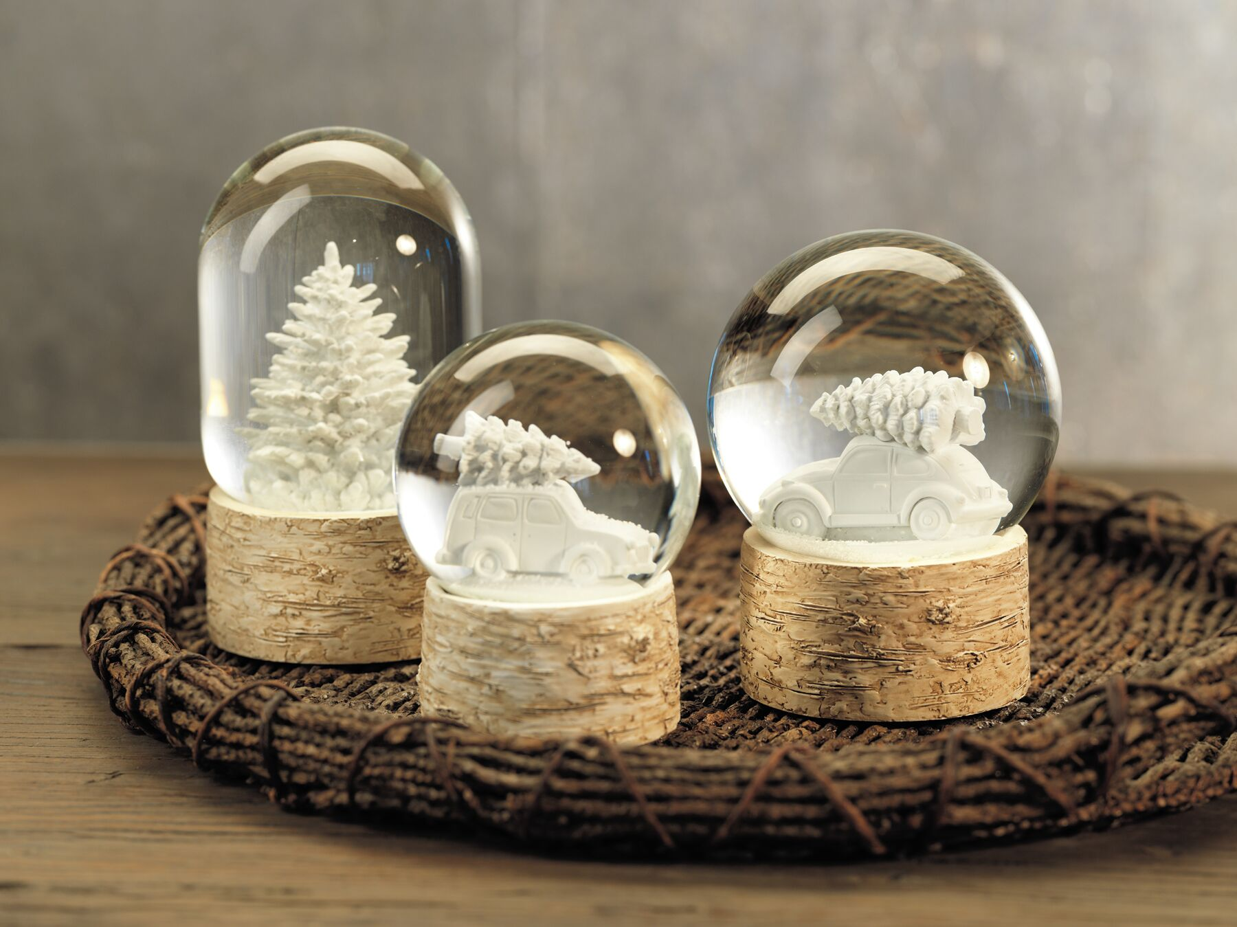 Snow globes on birch stands