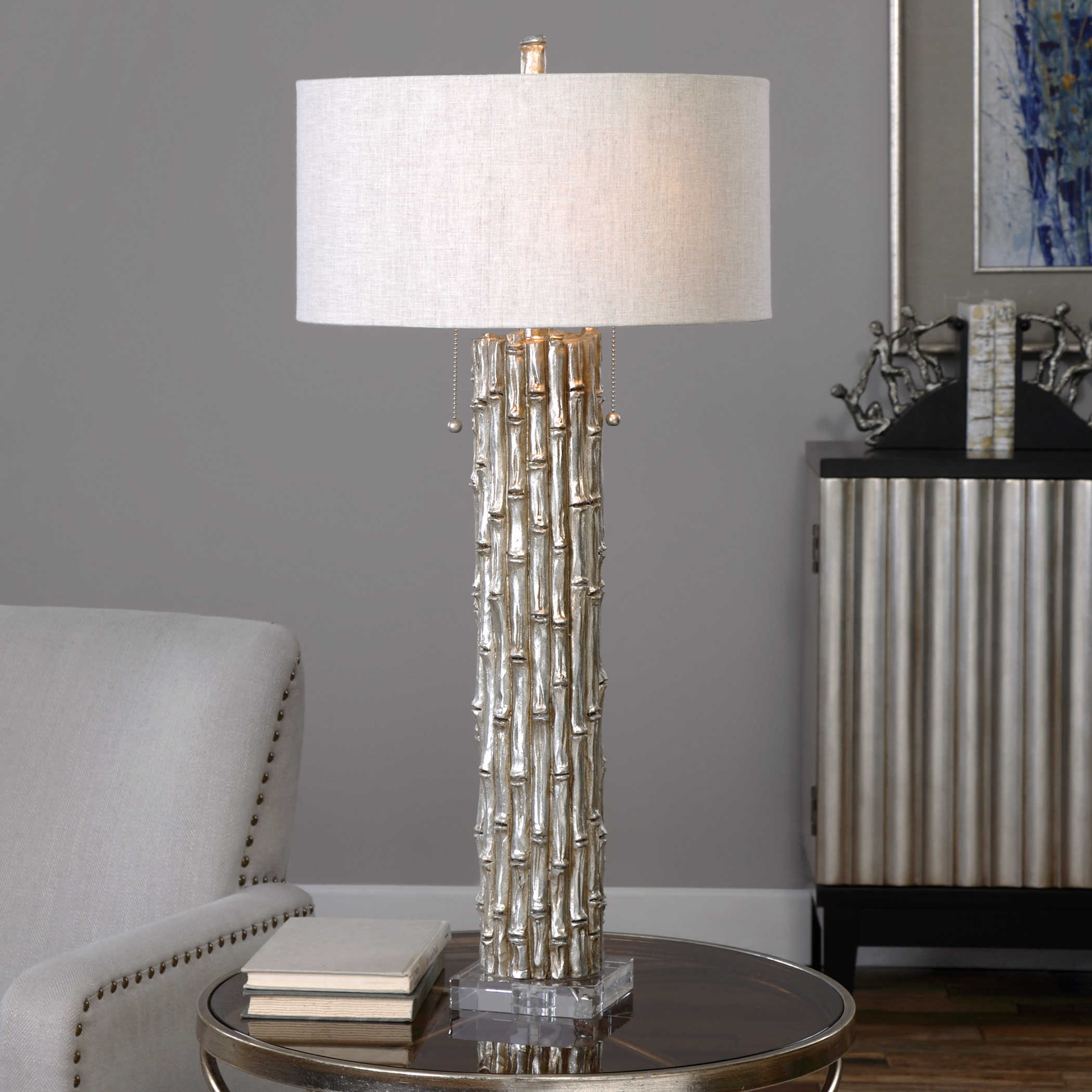 Silver Bamboo Lamp