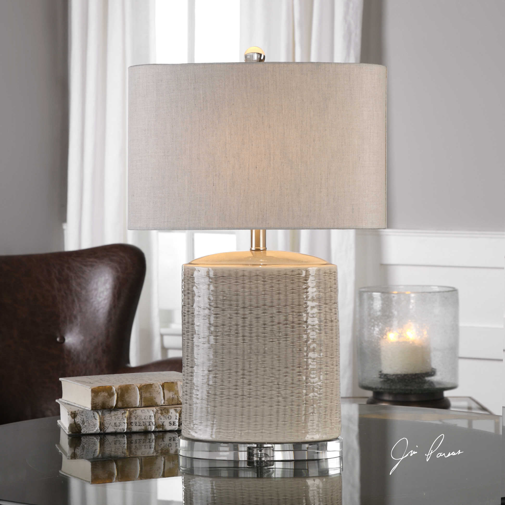 Taupe Gray Glazed Lamp-$298.00
