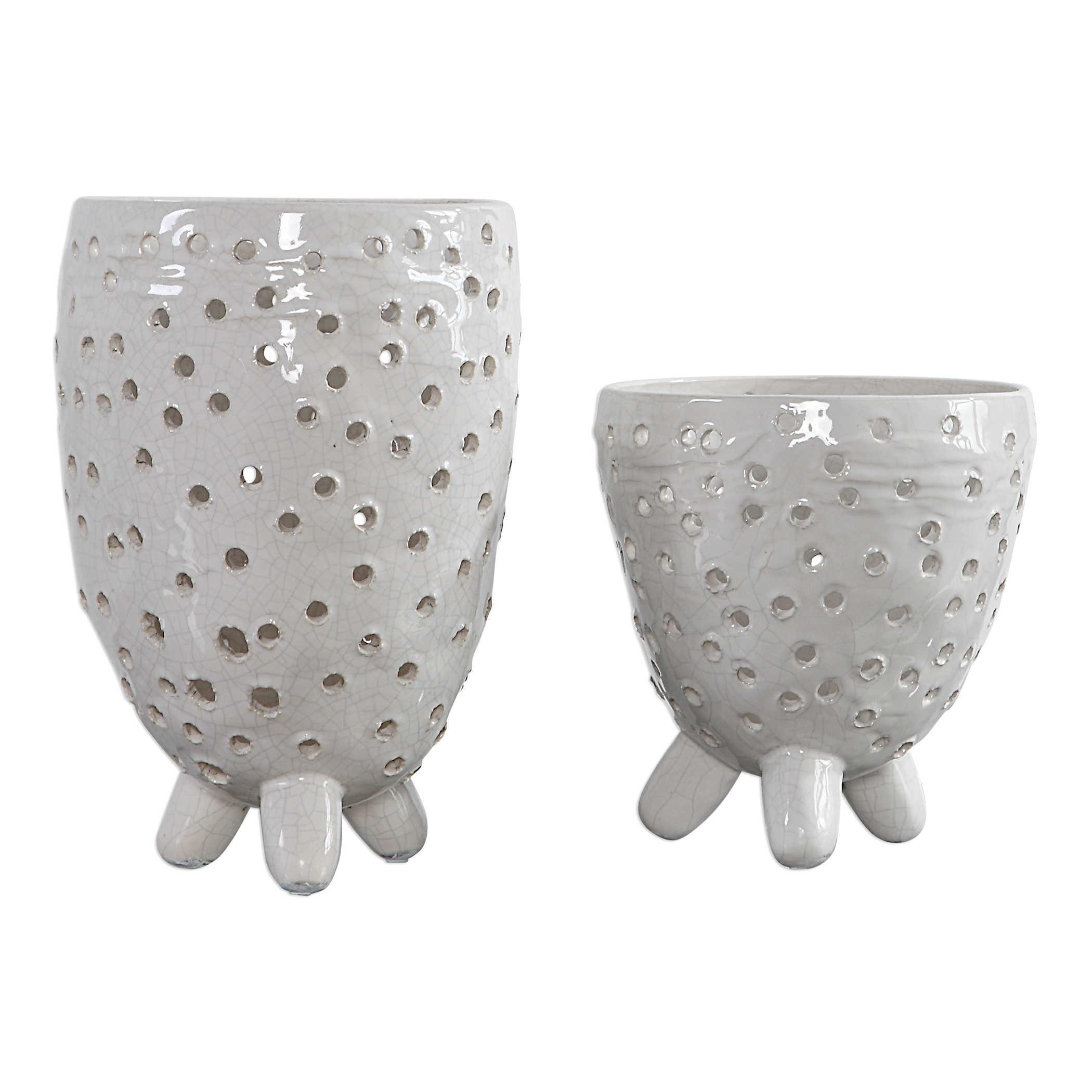 Ivory Pierced Vases