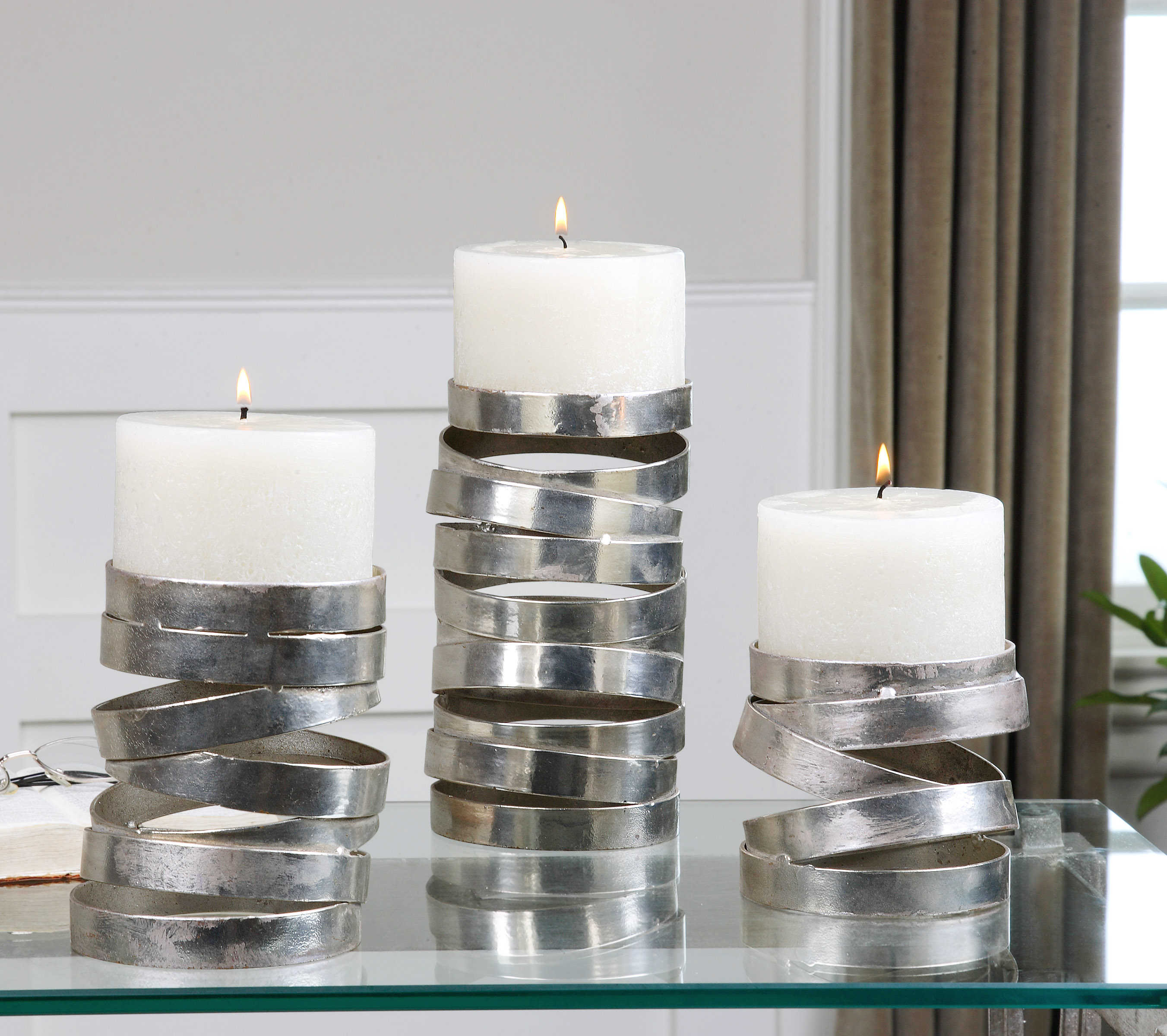 Stacked Rings Candleholders, set/3