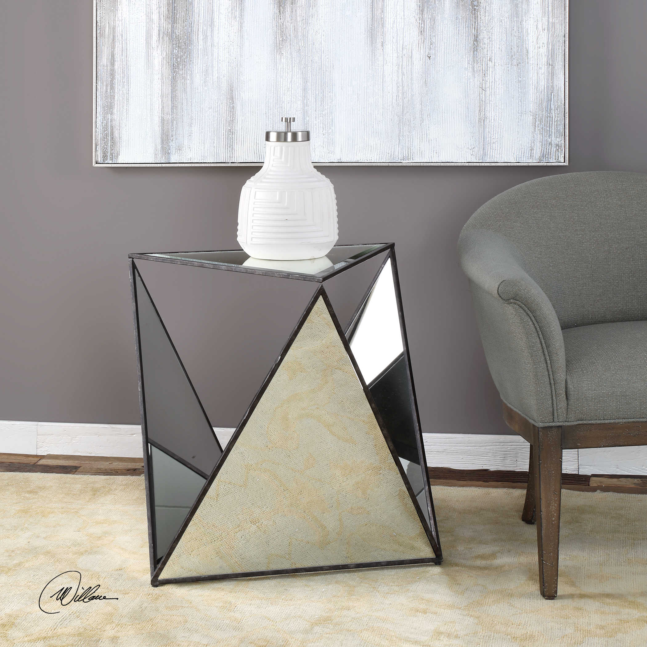 Mirrored Tripod Accent Table