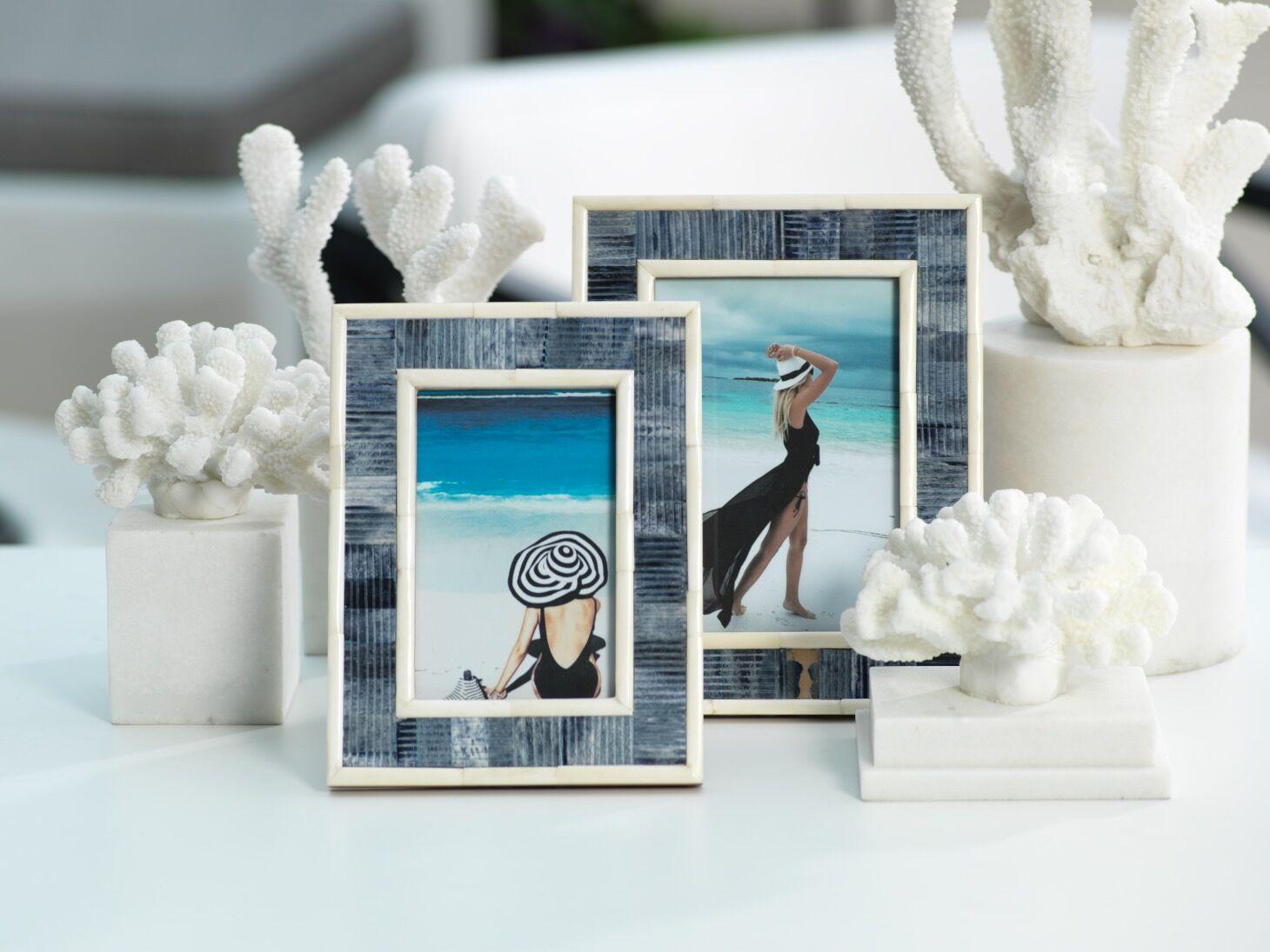 Mendocino Blue Carved Bone Photo Frames