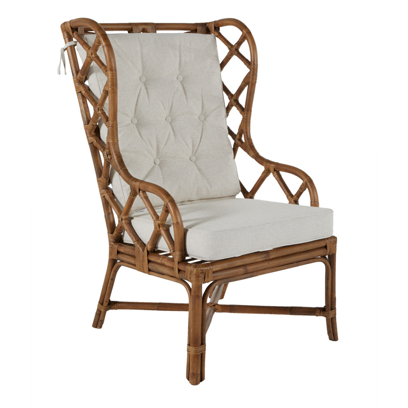 Rattan Wing Back Chair