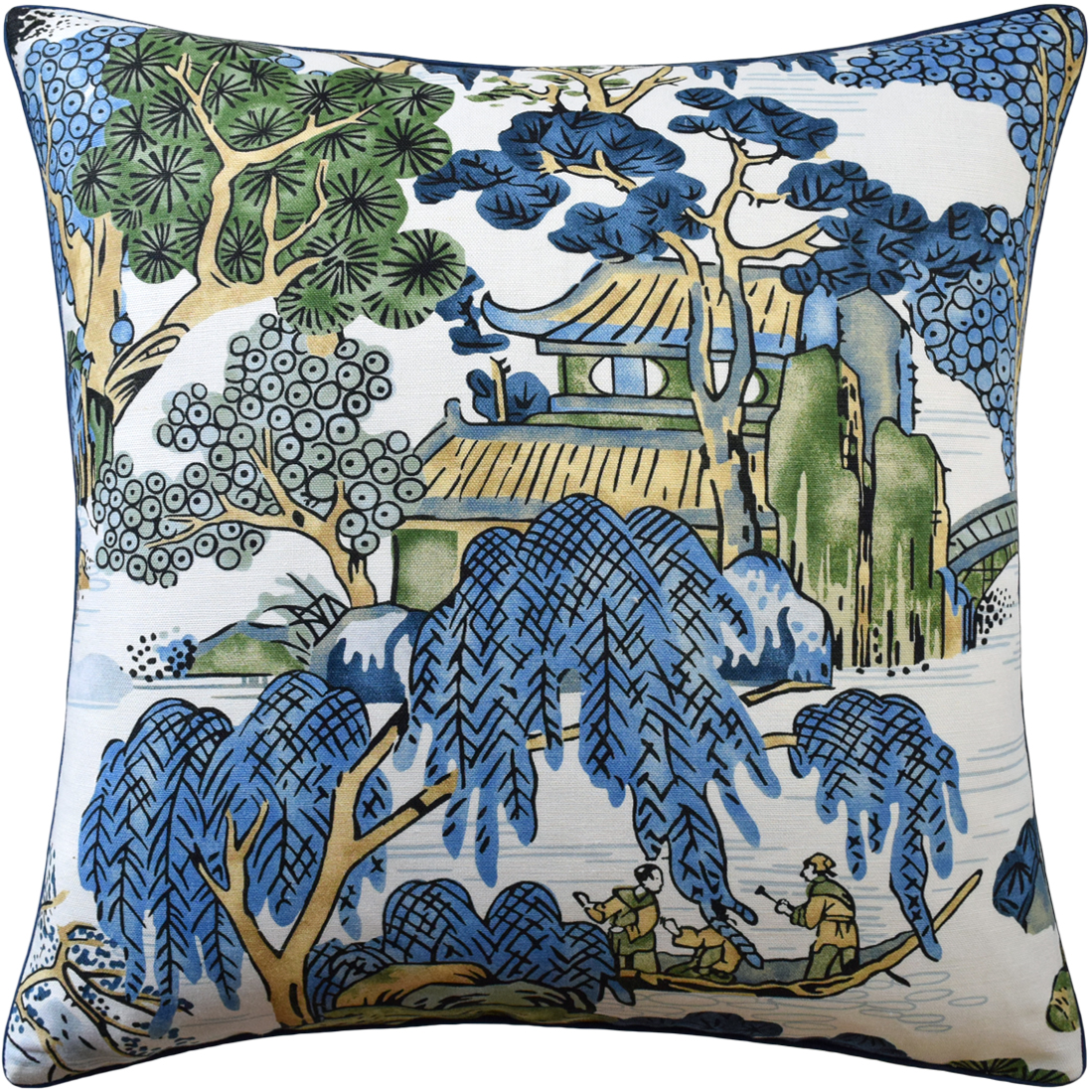 Asian Scenic Blue Green Pillow