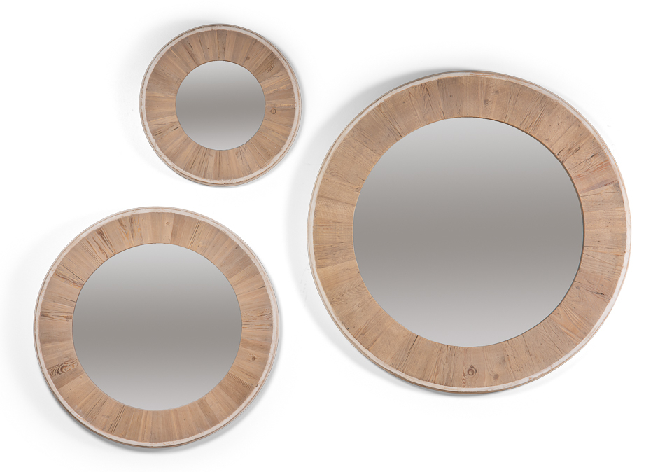 Reclaimed Pine Round Mirrors-Lg. $645.00 Med. $498.00 Sm. $365.00