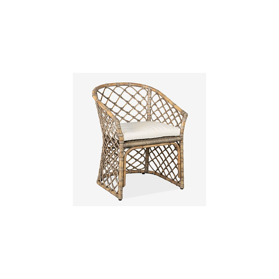Rattan Arm Chair w/Seat Cushion