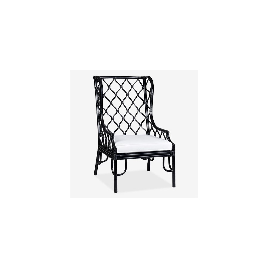 Black Rattan Wing Chair w/Cushion