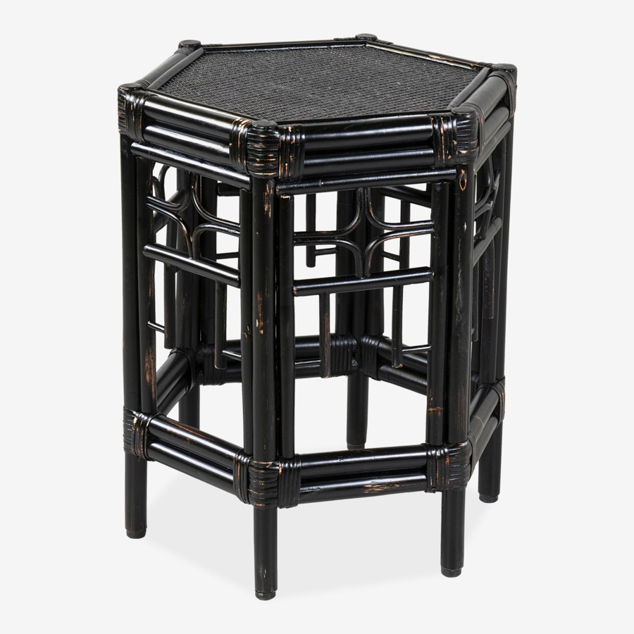 Rattan Side Table, Black