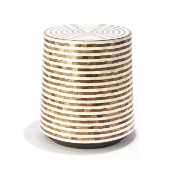 Brown & White Circles Side Table