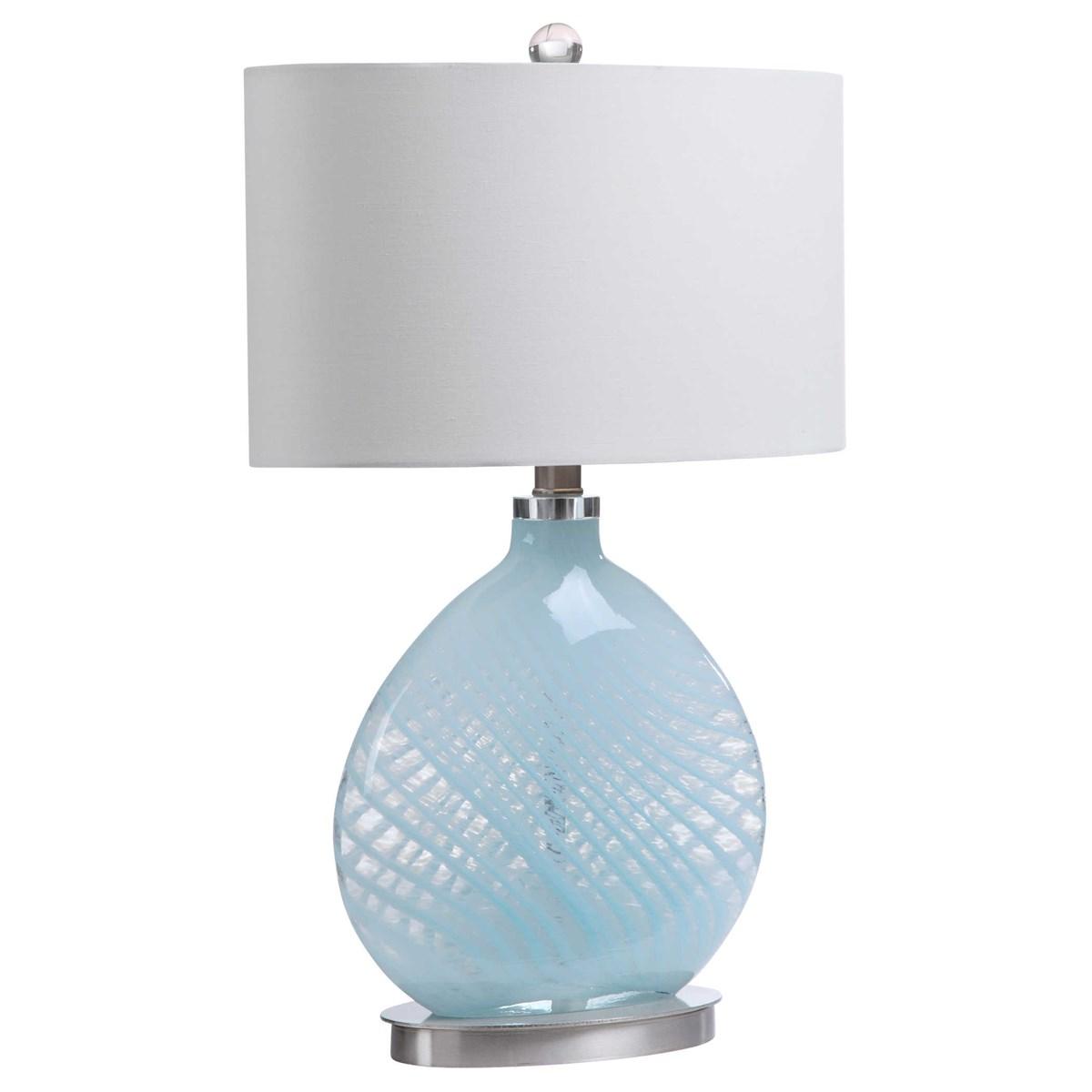 Lt. Blue Glass Table Lamp-$240.00