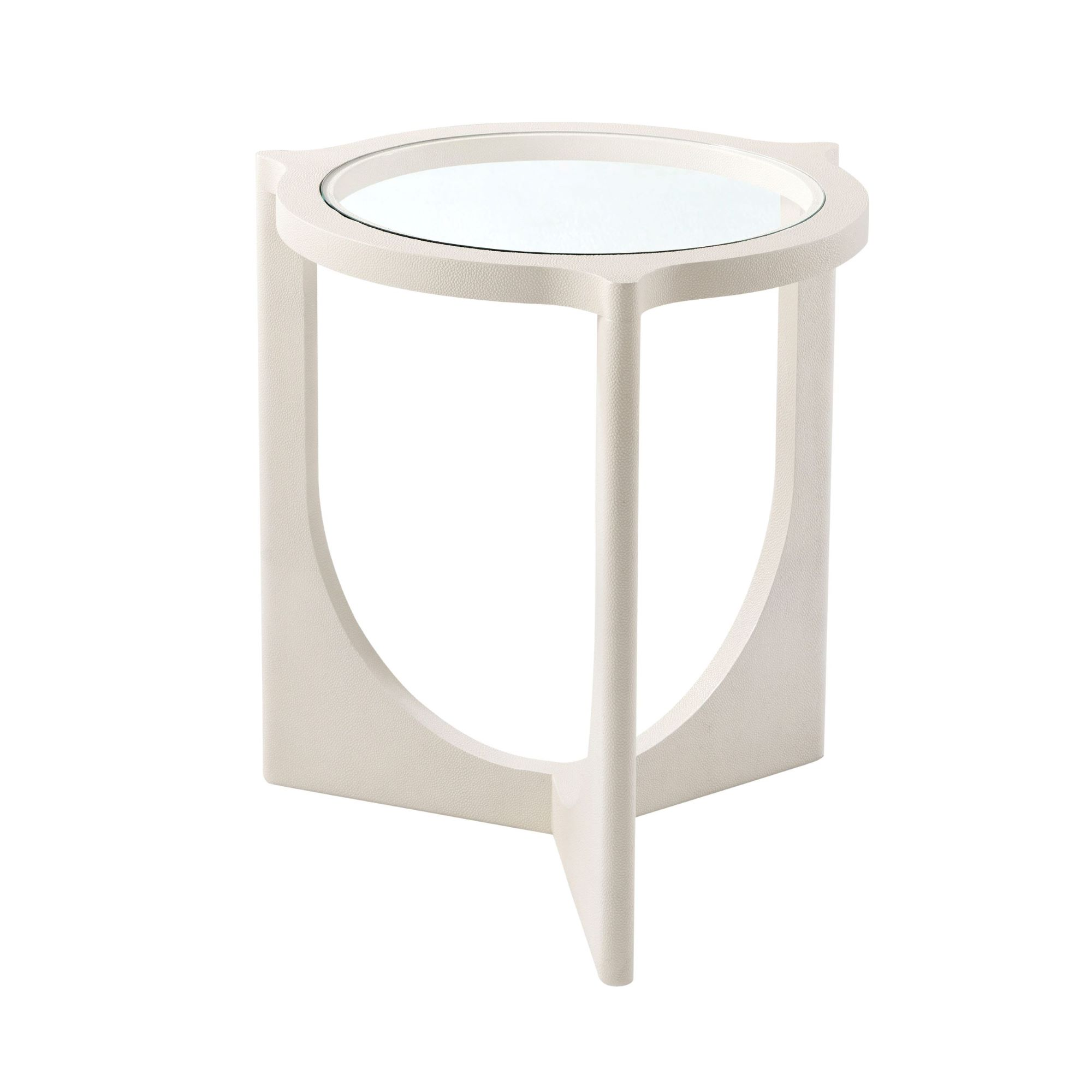 Ivory Shagreen Round End Table