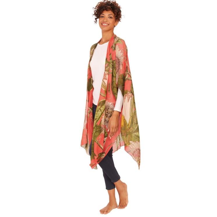 Coral Passion Flower Kimonos-$112.00