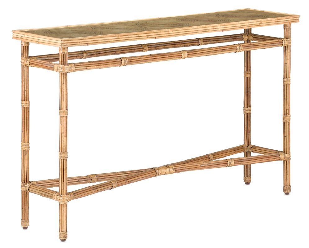 Rattan Glass Top Console-$2,298.00