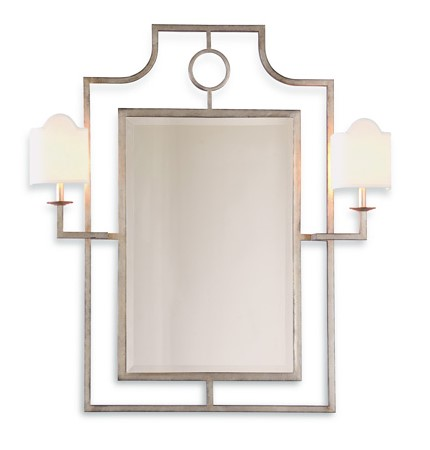 Silver Mirror with Sconces-$1,100.00