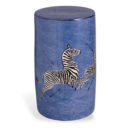 Blue Zebra Porcelain Garden Stool-$560.00