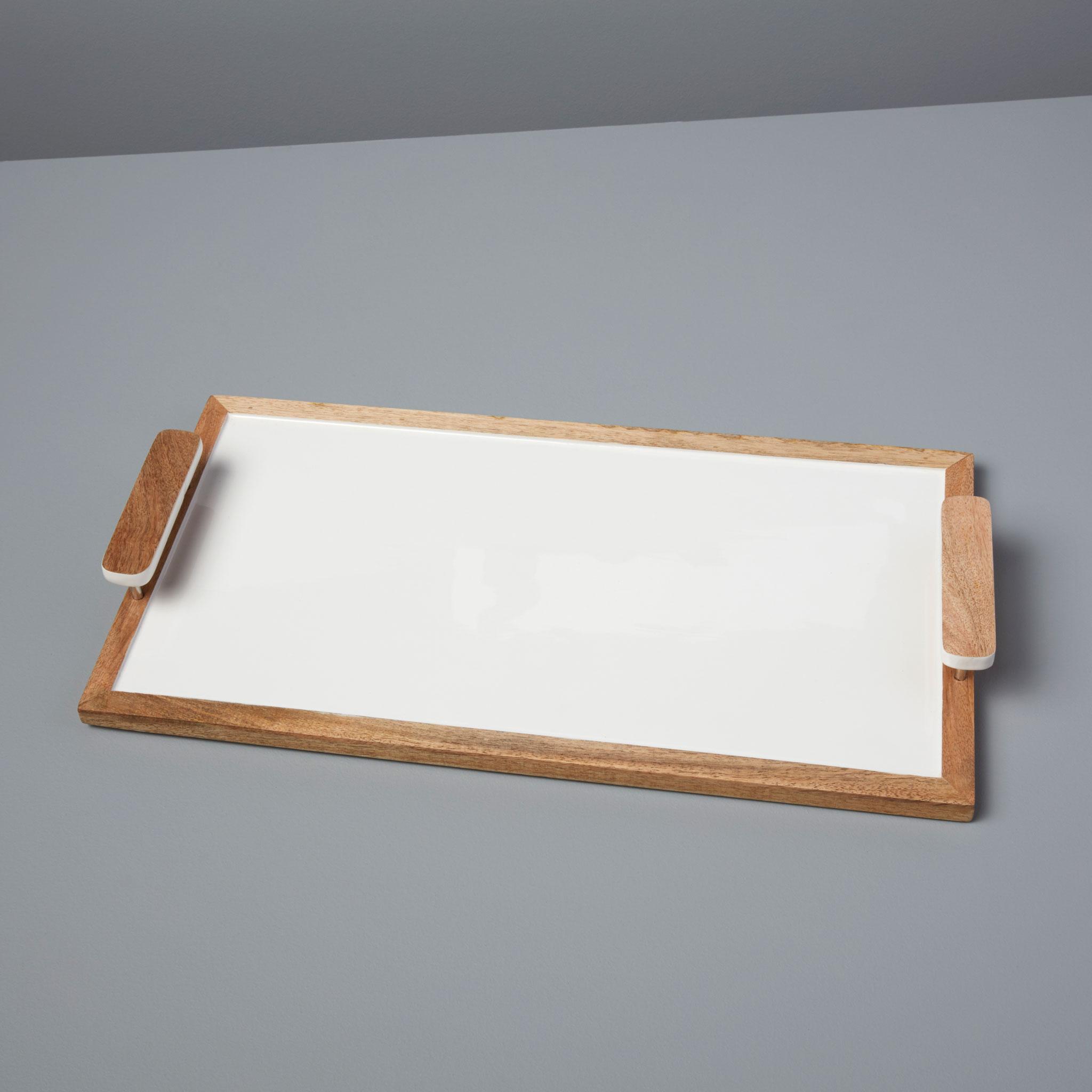 Mango wood & white enamel rectangular tray-$112.00