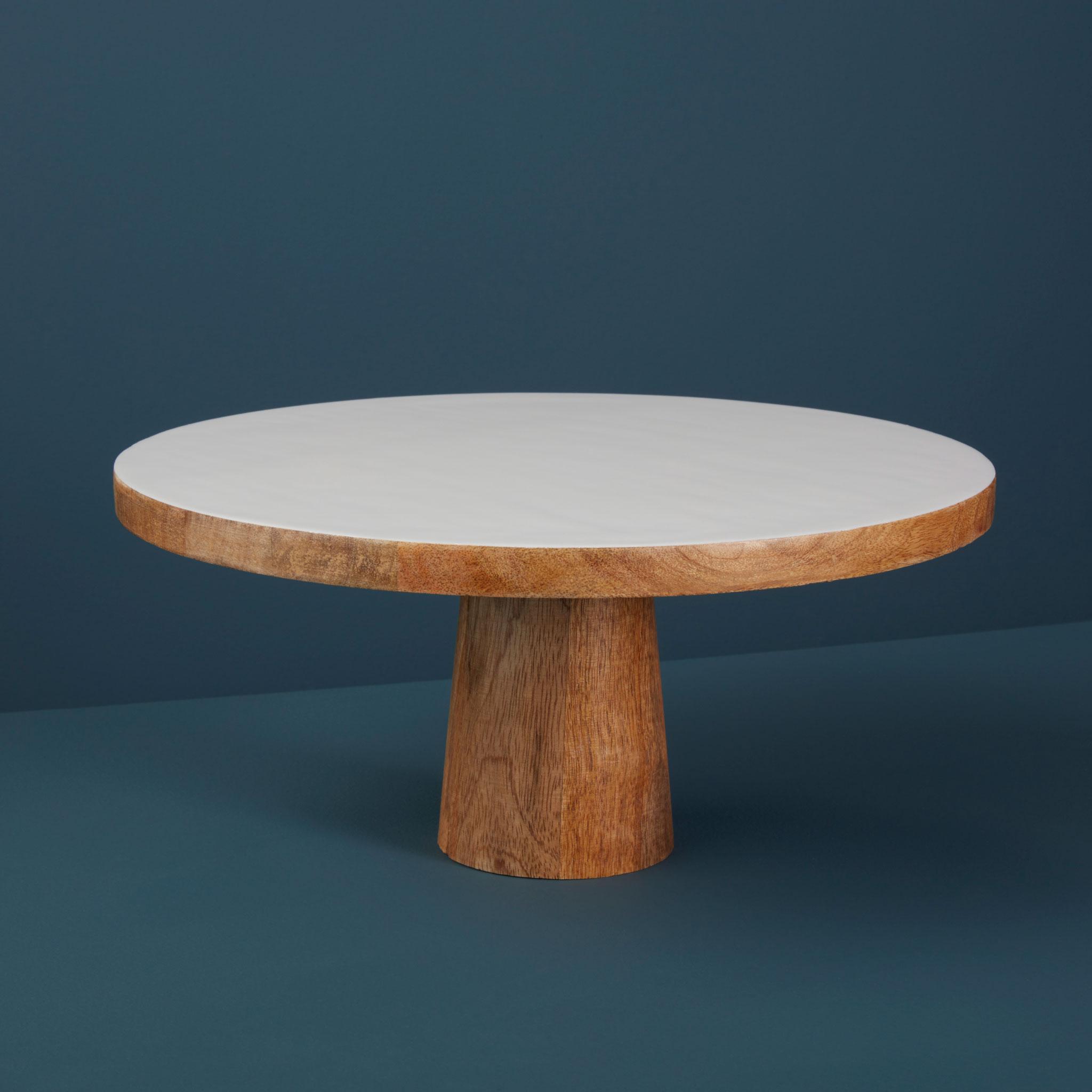 Mango wood & white enamel cake stand-$78.00