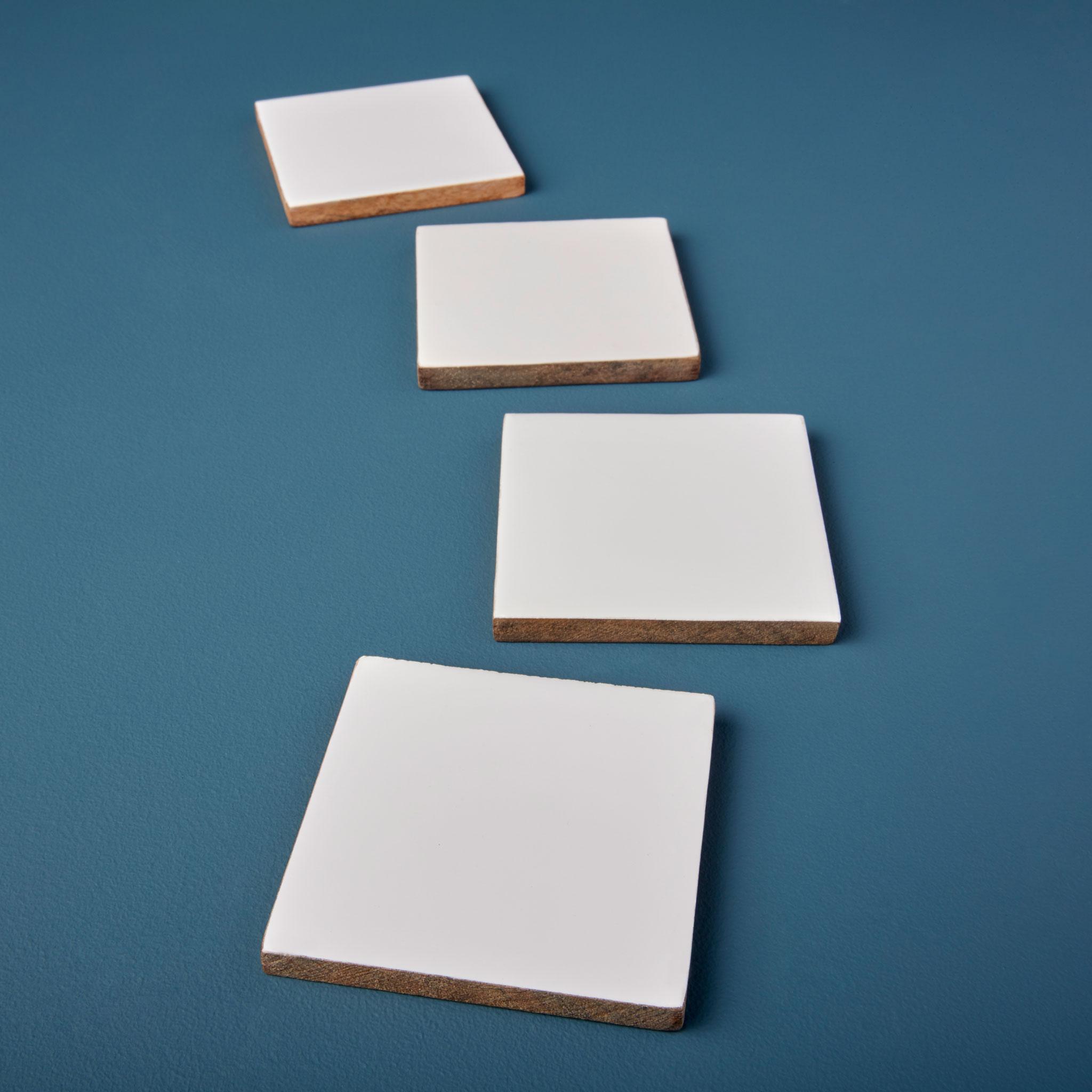 Mango wood & white enamel square coasters-$32.00